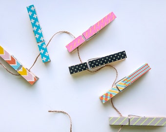 Washi Tape Clothespins - Set of 6