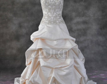 Glamorous Satin Pickup Skirt Chic Wedding Gown