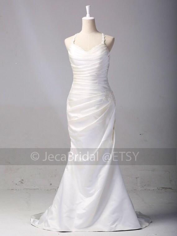 Slim Line Simple Satin Wedding Dress Outdoor Beach By