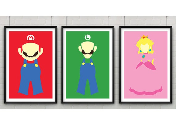 Super Mario Print Set Set of Three Super Mario Minimalist