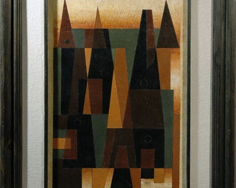 """CARLOS MERIDA This Abstract Multi-Media Geometric Drawing is 22""""X14.25"""" & is Guaranteed Authenic or Full Refund of Purchase Price"""