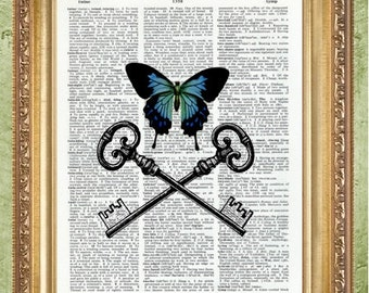 Butterfly and Keys Dictionary Art Prints Art Print Wall Decor Vintage Dictionary Print Dictionary Prints Book Page Art