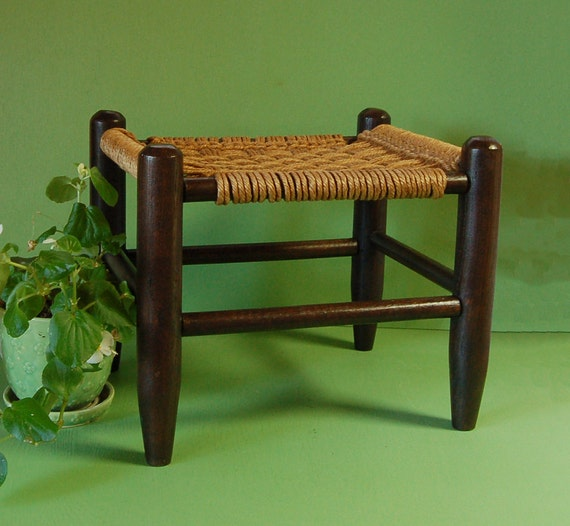 Vintage Woven Seat Stool Jute Rope Wood Foot Stool
