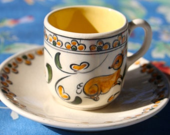 Gorgeous Vintage Demitasse cup and saucer with deer pattern