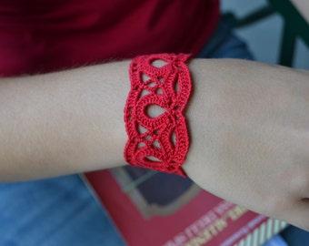 Red crochet bracelet, cotton bracelet, red lace cuff, romantic textile bracelet, bridesmaids bracelet, sweet bridal bracelet