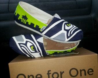 seahawks handpainted shoes