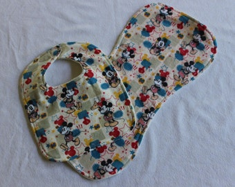 MARKED DOWN!! Mickey Mouse BIb and Burpcloth Set