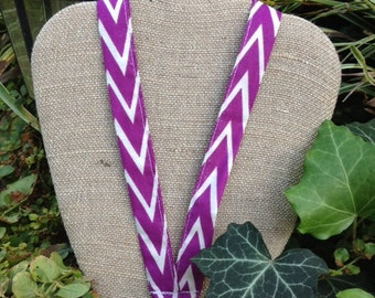 Grape Crush Purple and White Chevron Lanyard