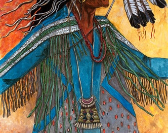 All that he See's, Tribal paintings, figural paintings, native american paintings, western paintings, native american prints,
