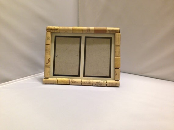 Handmade wine cork frame double 4x6 by TealBirdDesign on Etsy