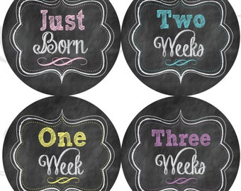 Faux Chalkboard Monthly Stickers - Girl Chalkboard Stickers Just Born to 3 Weeks - Baby Gift - Milestone Stickers - Chalkboard Stickers