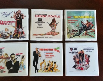 James Bond 007 Movie Ceramic Tile Coasters Set of 6