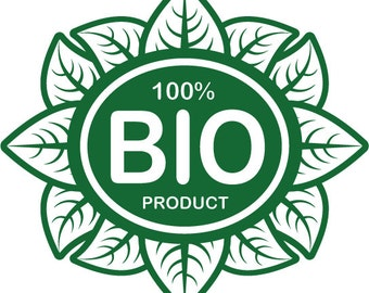 Custom Made BIO Product Removable Decal Sticker for Wall, Glass, Store Front, Car and more, Organic Product Wall Decal Sticker