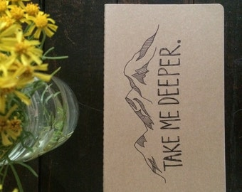 """Moleskine Lined """"Take Me Deeper"""" Journal with Mountains"""