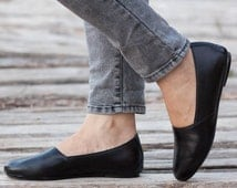 Black Leather Shoes, Black Shoes, Loafers, Flat Shoes, Black Slip Ons , Free Shipping