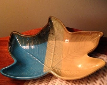 Vintage stoneware leaf shaped dish made by Country Originals in Columbia
