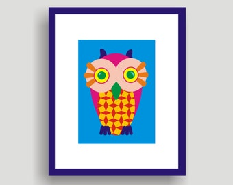 Baby Owl Blue - POP ART original  by C Wiedenheft  comes with a white mat ready to frame