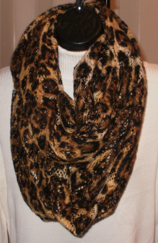 leopard print infinity scarf fashion scarf knit by