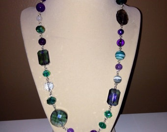 Beaded Necklace in Purples & Greens