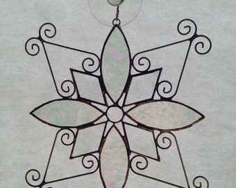 Beveled Glass Snowflake with Opalescent Glass