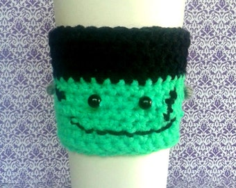 Halloween cup cozy, Frankenstein cup cozy, crocheted halloween coffee cup cozy, coffee, tea, beverage cozy, coffee warmer, monster cup cozy