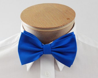 Mens Bow Tie Royal Blue Solid Banded Pre Tied Bow Tie