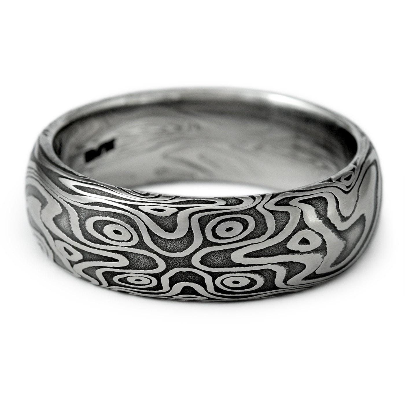 wood grain ring damascus steel men 39 s domed wedding band. Black Bedroom Furniture Sets. Home Design Ideas