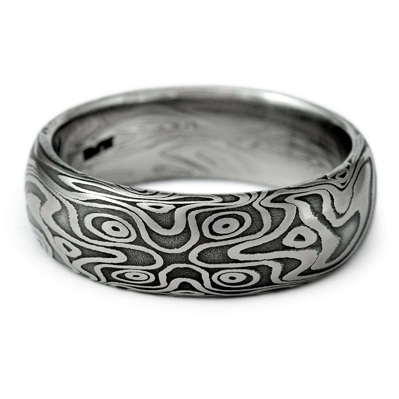 Man S Hand Bands: Wood Grain Ring Damascus Steel Men's Domed Wedding Band