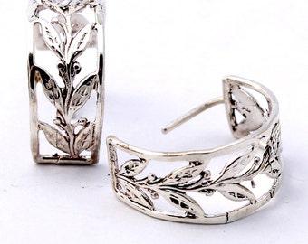 Leaf Earrings / Silver Hoop Leaf Earrings / Leaf Jewelry / Leaves Earrings