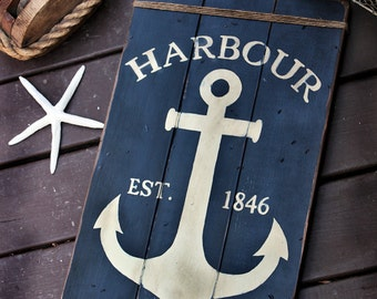 Rustic wooden sign ' Harbour East Wharf '