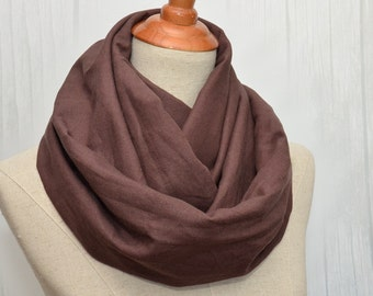 Linen scarf, Extra Wide Linen Infinity Scarf, Chunky Scarf, Natural Linen,Dark brown color.