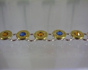 Klassy Rounds Bullet Head Swarovski Crystal Blue & Orange Florida Gators Two Tone Bracelet Winchester 38 Special