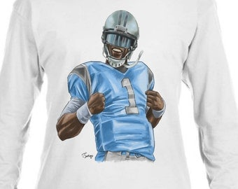 Cam Newton NFLPA Officially Licensed Carolina Long Sleeve Shirt S-3XL Super Cam