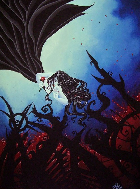 Floating Gothic female w/ blood and roses acrylic painting comic dark ...