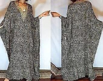 GOTHIC ETHNIC  batik RAYON Spiral Batwing Hippy Maxi dress