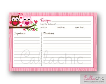 Owl Recipe Card PRINTABLE - Bridal Shower Invitation - Owl Pink Red and Brown (INSTANT DOWNLOAD)