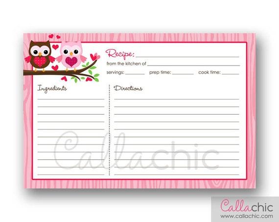owl recipe card printable bridal shower invitation owl. Black Bedroom Furniture Sets. Home Design Ideas