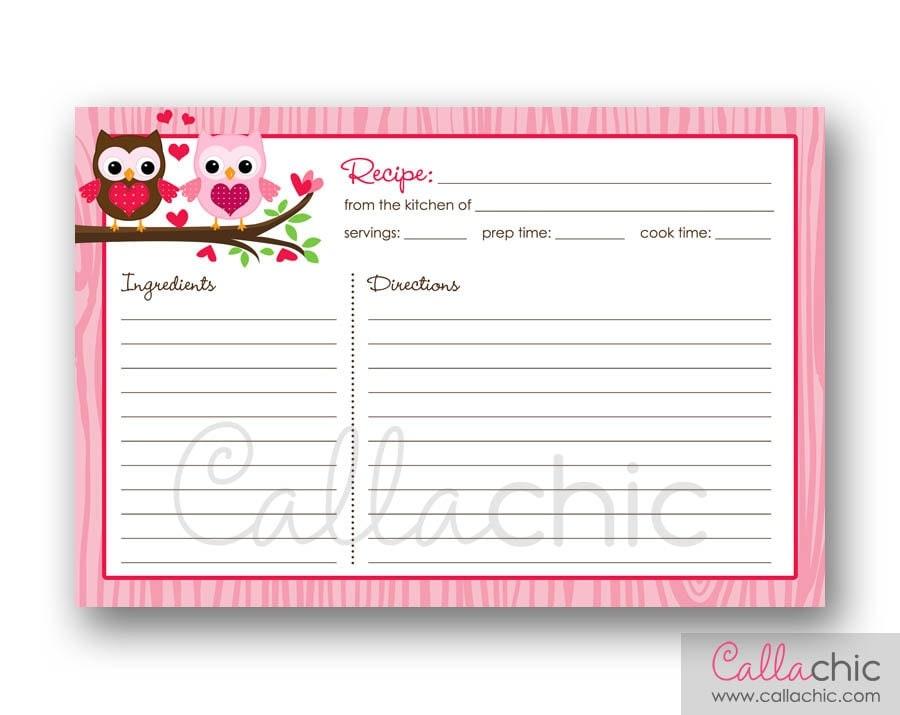 Owl Recipe Card PRINTABLE Bridal Shower Invitation Owl