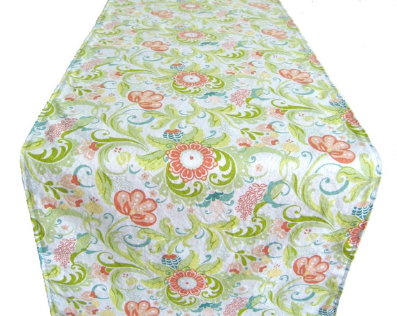 3 ft table runner 12 x 36 coral teal yellow for 12 ft table runner
