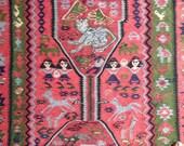 Pictorial kilim rug Characters Kurdish runner Vintage Folk art North West Persian family cats dinosaurs aliens horses camels birds snakes