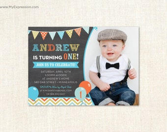 Multicolored Balloons Chalkboard Photo Birthday Invitations  - Boys First Birthday Party - Printable