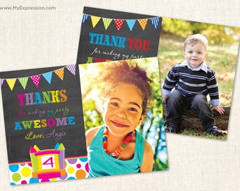 Bounce House Photo Thank You Card - Size 4x6 or 5x7  - Boy or Girl Chalkboard Thank You - Printable Digital File
