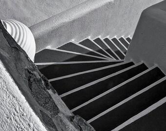 Staircase, Santorini: A Black and White Photograph 11x14