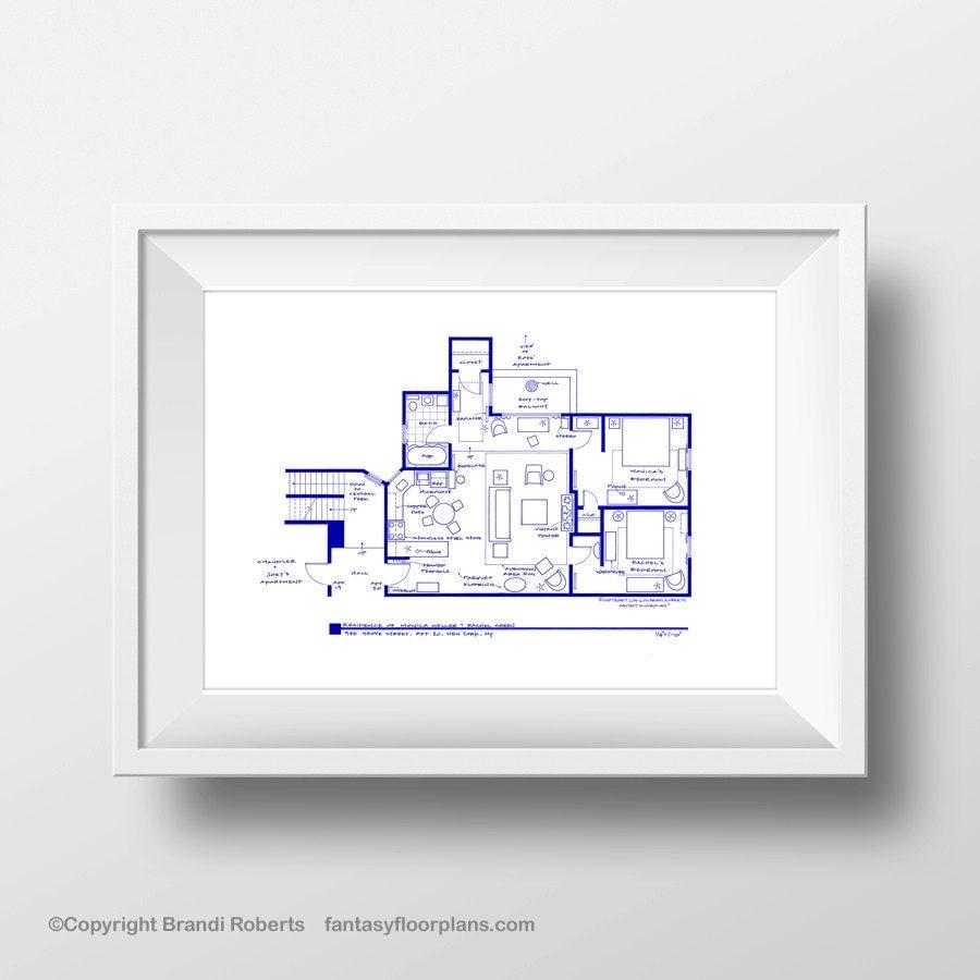 friends tv show apartment floor plan poster blueprint for