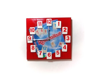 """Rummikub Clock for your game room, 8 1/2"""" square wood with game tiles, decouppage background, quartz movement."""