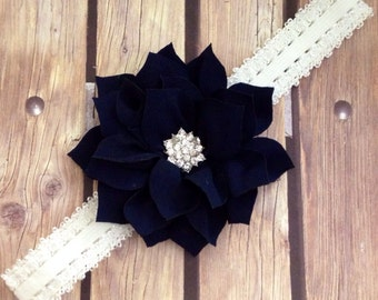 Navy headband, white headband, navy and white headband, lace headband, flower headband, flower girl headband, halo, blue headband, baby bow,