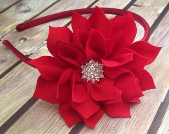 Red headband, Christmas headband, poinsettia headband, red poinsettia headband, holiday headband, flower girl headband, red headband,