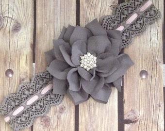Grey headband vintage headband, grey and pink headband, halo, flower girl headband, flower girl, lace headband, vintage lace headband, baby