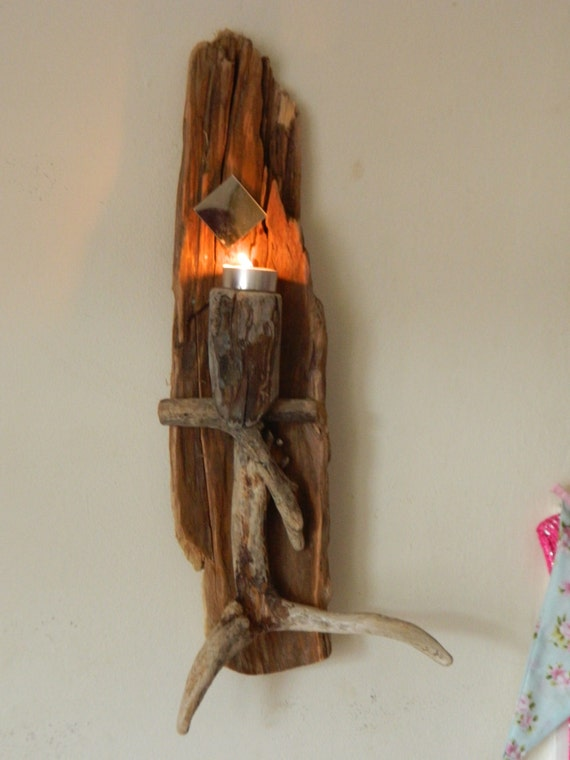 Driftwood Sconce Candle Holder Tea Lighter by LoveUpcycledUK