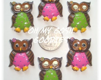 2 Piece Set  POLKA DOT HOOTS Owl Hairbow Centers - Oh My Gosh Goodies Resins